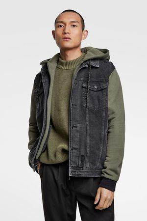 Zara Kurtka jeansowa z kapturem z łączonych tkanin