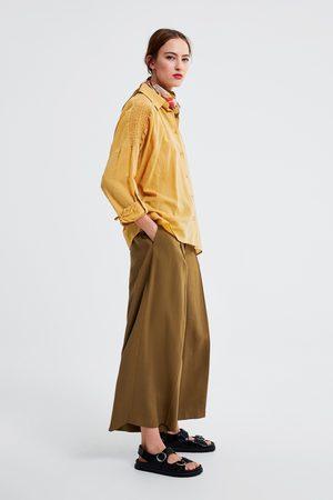 Zara Koszula z łączonych tkanin z gumkami
