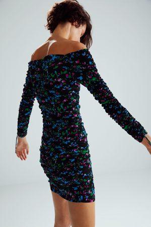 Zara Sukienka z nadrukiem i drapowaniem z limitowanej edycji