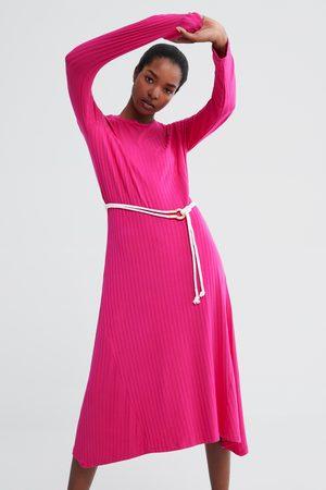 Zara Długa sukienka z paskiem