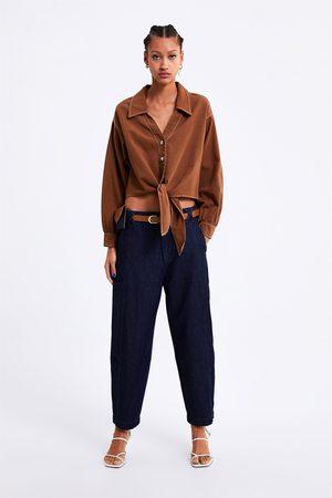 Zara Spodnie jeansowe typu slouchy z paskiem z kolekcji zw1975