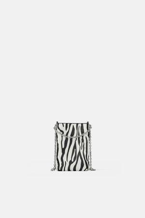 Zara Skórzane etui na telefon komórkowy w zwierzęcy deseń