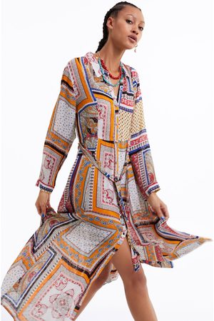 Zara Sukienka z tkaniny plumeti z nadrukiem