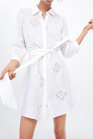 Zara Tunika z haftem i paskiem
