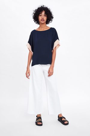 Zara Bluzka z rękawami z łączonych tkanin