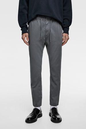 Zara Spodnie joggery z miękkiej tkaniny bawełnianej
