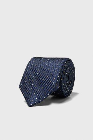 Zara Szeroki żakardowy krawat w kropki