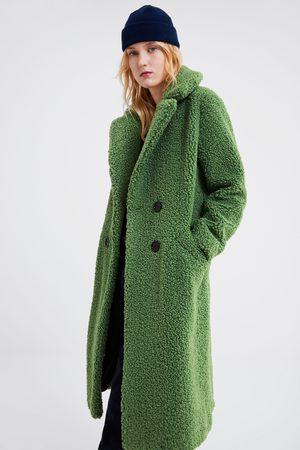 Zara Płaszcz ze sztucznego baranka