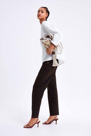 Zara Bluzka bawełniana z koronkowymi wstawkami