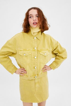 Zara Jednobarwna kurtka jeansowa