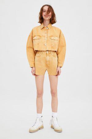 Zara Spodenki jeansowe z wysokim stanem
