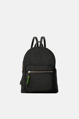 Zara Nylonowy plecak z podszewką w jaskrawym kolorze