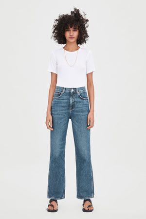 Zara Luźne spodnie jeansowe z wysokim stanem o prostym kroju