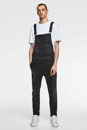 Zara Spodnie ogrodniczki jeansowe z efektem sprania w stylu vintage