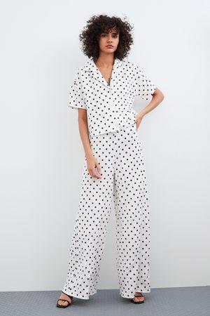 Zara Spodnie z tkaniny z efektem gniecenia