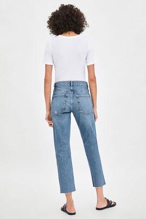 Zara Spodnie jeansowe ze średnim stanem typu slouchy