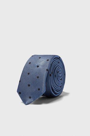 Zara Wąski żakardowy krawat w kropki