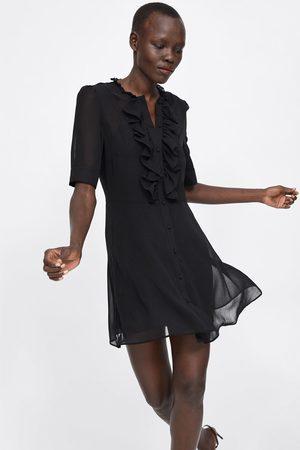 Zara Sukienka z półprzezroczystej tkaniny z falbankami