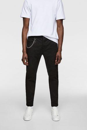 Zara Spodnie rurki z łańcuszkiem