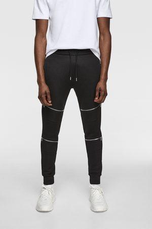 Zara Spodnie joggery w stylu motocyklowym