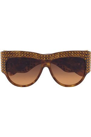Gucci Eyewear Crystal embellished oversized tortoiseshell sunglasses