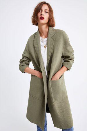 Zara Luźny płaszcz z kieszeniami