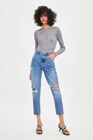 Zara Spodnie jeansowe z wysokim stanem o klasycznym kroju typu mom fit