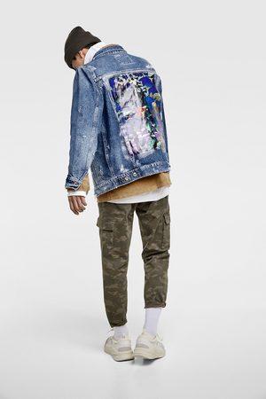 Zara Kurtka jeansowa z nadrukiem z tyłu