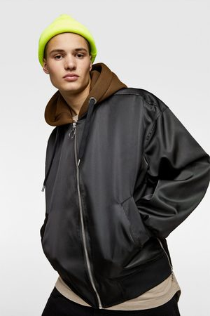 Zara Hooded bomber jacket with contrast lining