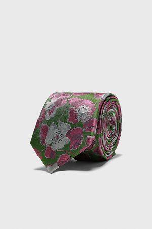 Zara Szeroki żakardowy krawat w kwiaty