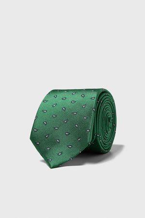 Zara Szeroki żakardowy krawat w turecki deseń