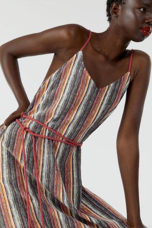 Zara Wielobarwna sukienka z nadrukiem w paski