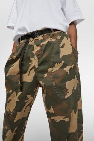 Zara Spodnie joggery z miękkiej tkaniny jeansowej w moro