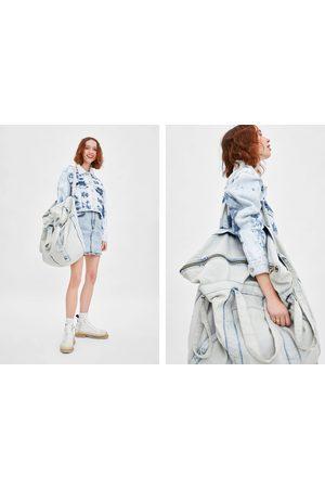 Zara Torba jeansowa typu shopper xxl