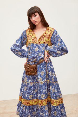 Zara Wzorzysta sukienka z łączonych tkanin