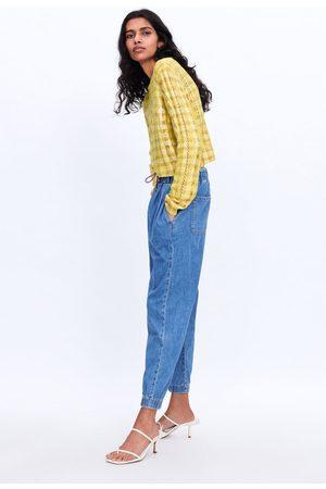 Zara Spodnie jeansowe joggery z wiązaniem z kolekcji z1975