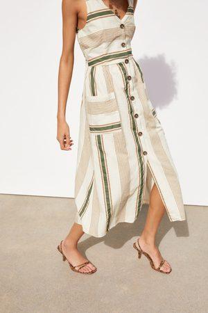 Zara Sukienka w stylu rustykalnym w paski