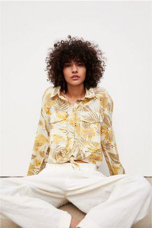 Zara Koszula z ażurowym haftem i nadrukiem