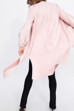 Zara Kobieta Płaszcze - Płaszcz ze sztucznego zamszu z kieszeniami