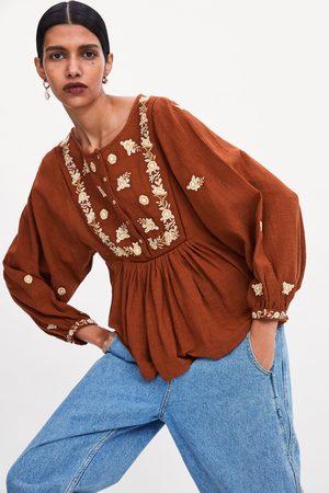 Zara Bluzka z haftem i balonowymi rękawami