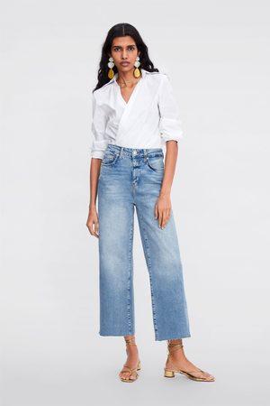 Zara Kobieta Z wysokim stanem - Jeans zw premium high waist culotte sunrise blue