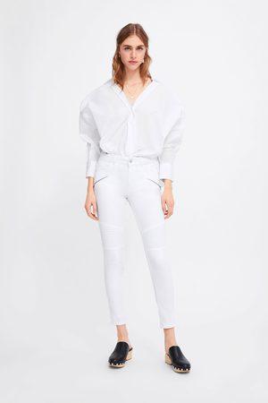 Zara Kobieta Rurki - Spodnie jeansowe rurki z suwakami z kolekcji z1975