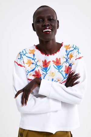 Zara Kobieta Bluzy - Bluza oversize z haftem