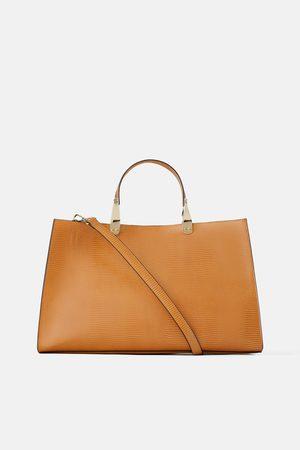 Zara Kobieta Torby shopper - Prostokątna torba typu shopper w zwierzęcy deseń