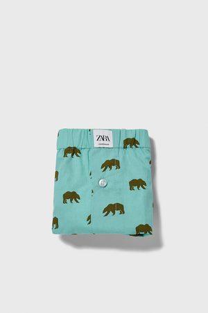 Zara Bokserki bieliźniane z popeliny z nadrukiem w niedźwiedzie