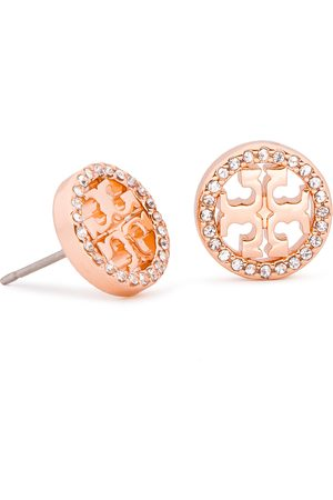 Tory Burch Kolczyki - Crystal Logo Circle-Stud Earring 53422 Rose Gold/Crystal 696