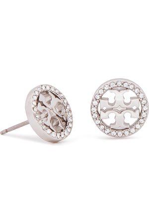 Tory Burch Kolczyki - Crystal Logo Circle Stud Earring 53422 Tory Silver/Crystal 042