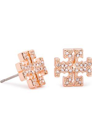 Tory Burch Kolczyki - Crystal Logo Stud Earring 53423 Rose Gold/Crystal 696