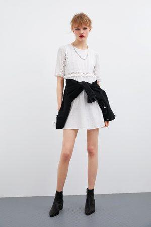 Zara Sukienka z ażurowym haftem
