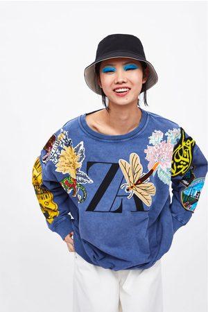 Zara Kobieta Bluzy - Bluza z naszywkami i logo